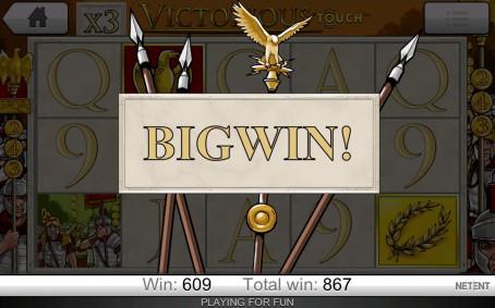 Stor gevinst på spilleautomaten Victorious