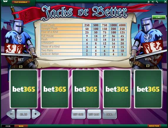 Bet365 Video Poker