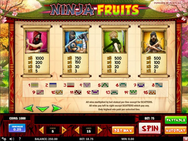 ninja fruits payt